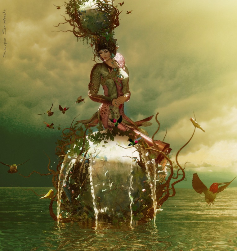 What creates the tides? There is a faery who sits atop the Earth and likes to play with the oceans as if they are a puddle to play in.