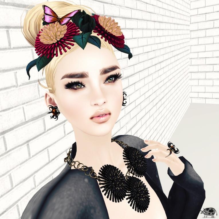 Headpiece: (Kunglers Extra), Frida Forever .  Necklace/Earring/Ring: (Kunglers Extra), Frida Forever/Anemona/Anemona . Hair: Boon .