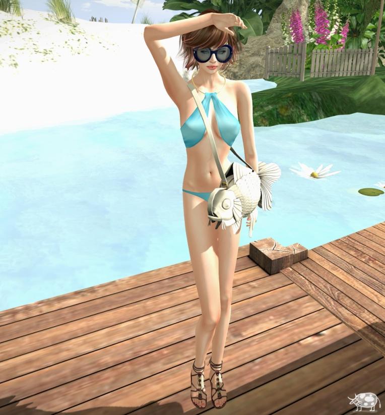 Credits: Swimsuit: Glam Affair, Angelina  *Summerfest2015* . Hair: Tableau Vivant, Luce . Glasses: Elysium, Junia . Bag: :::LP:::, Goldfish messenger . Pose: .Slouch .